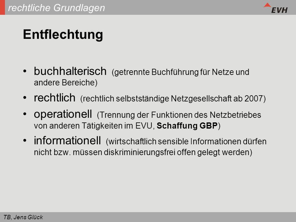 TB, Jens Glück rechtliche Grundlagen Entflechtung buchhalterisch (getrennte Buchführung für Netze und andere Bereiche) rechtlich (rechtlich selbststän