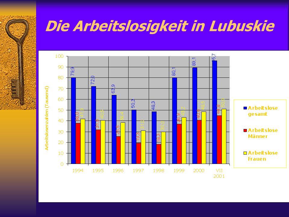 Die Arbeitslosigkeit in Lubuskie
