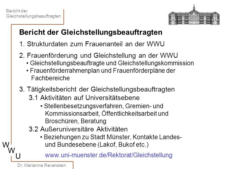 Bericht der Gleichstellungsbeauftragten W W U Dr. Marianne Ravenstein Bericht der Gleichstellungsbeauftragten 1. Strukturdaten zum Frauenanteil an der
