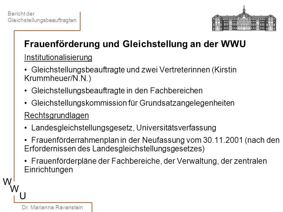 Bericht der Gleichstellungsbeauftragten W W U Dr. Marianne Ravenstein Frauenförderung und Gleichstellung an der WWU Institutionalisierung Gleichstellu