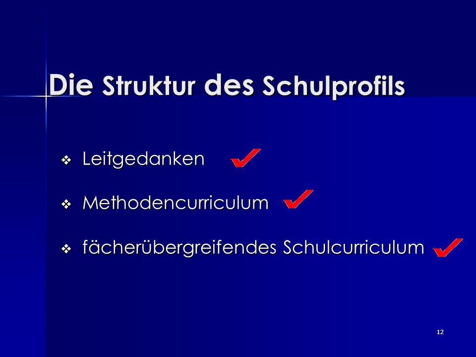 12 Die Struktur des Schulprofils Leitgedanken Leitgedanken Methodencurriculum Methodencurriculum fächerübergreifendes Schulcurriculum fächerübergreife