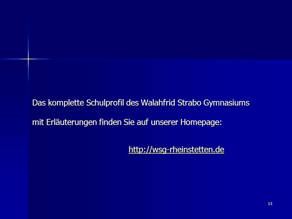 13 Das komplette Schulprofil des Walahfrid Strabo Gymnasiums mit Erläuterungen finden Sie auf unserer Homepage: http://wsg-rheinstetten.de http://wsg-
