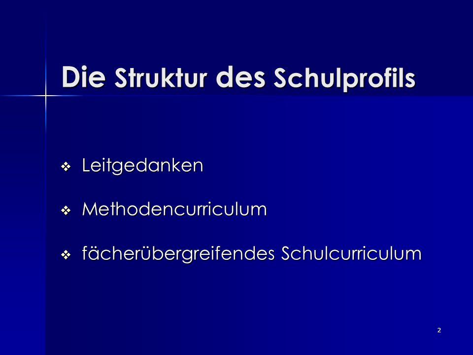 2 Die Struktur des Schulprofils Die Struktur des Schulprofils Leitgedanken Leitgedanken Methodencurriculum Methodencurriculum fächerübergreifendes Sch