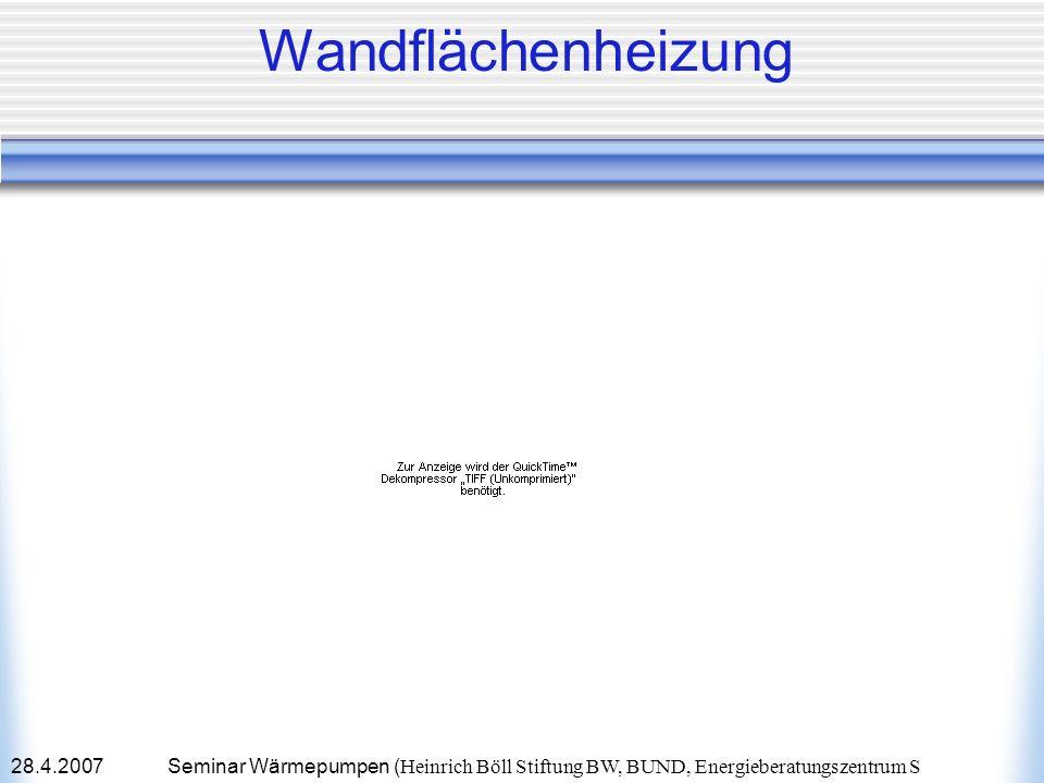 28.4.2007Seminar Wärmepumpen ( Heinrich Böll Stiftung BW, BUND, Energieberatungszentrum S Wandflächenheizung