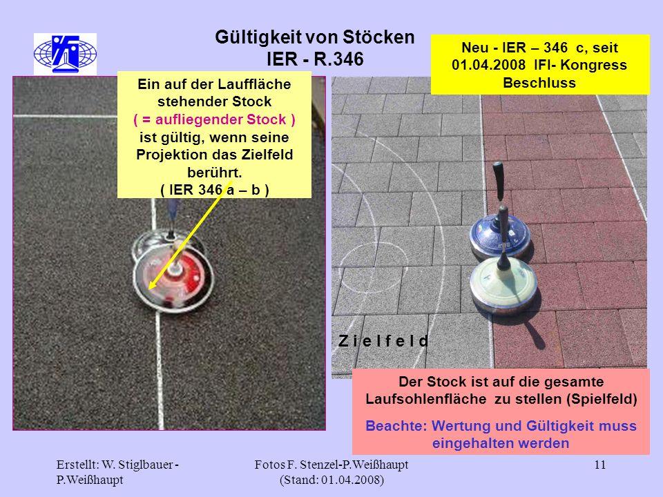 Erstellt: W. Stiglbauer - P.Weißhaupt Fotos F. Stenzel-P.Weißhaupt (Stand: 01.04.2008) 11 Gültigkeit von Stöcken IER - R.346 Ein auf der Lauffläche st