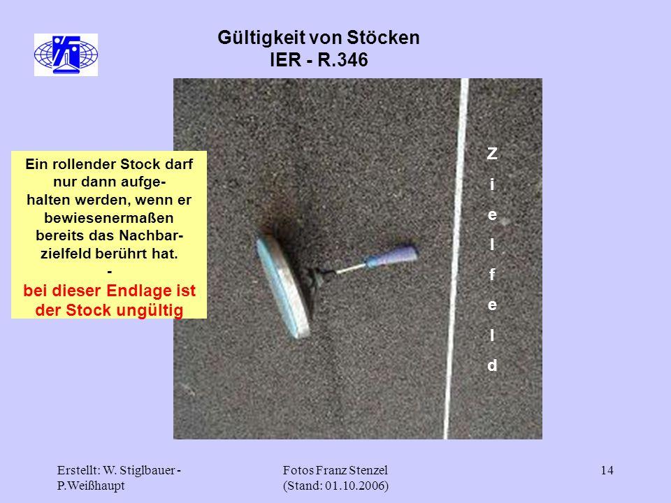 Erstellt: W. Stiglbauer - P.Weißhaupt Fotos Franz Stenzel (Stand: 01.10.2006) 14 Gültigkeit von Stöcken IER - R.346 ZielfeldZielfeld Ein rollender Sto