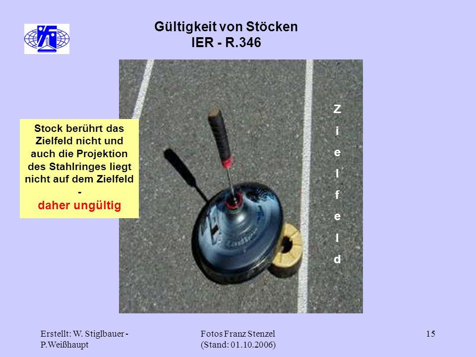 Erstellt: W. Stiglbauer - P.Weißhaupt Fotos Franz Stenzel (Stand: 01.10.2006) 15 Gültigkeit von Stöcken IER - R.346 ZielfeldZielfeld Stock berührt das