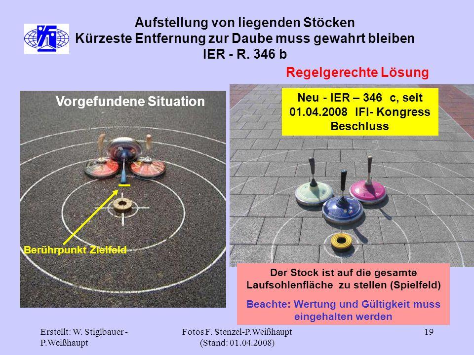 Erstellt: W. Stiglbauer - P.Weißhaupt Fotos F. Stenzel-P.Weißhaupt (Stand: 01.04.2008) 19 Aufstellung von liegenden Stöcken Kürzeste Entfernung zur Da