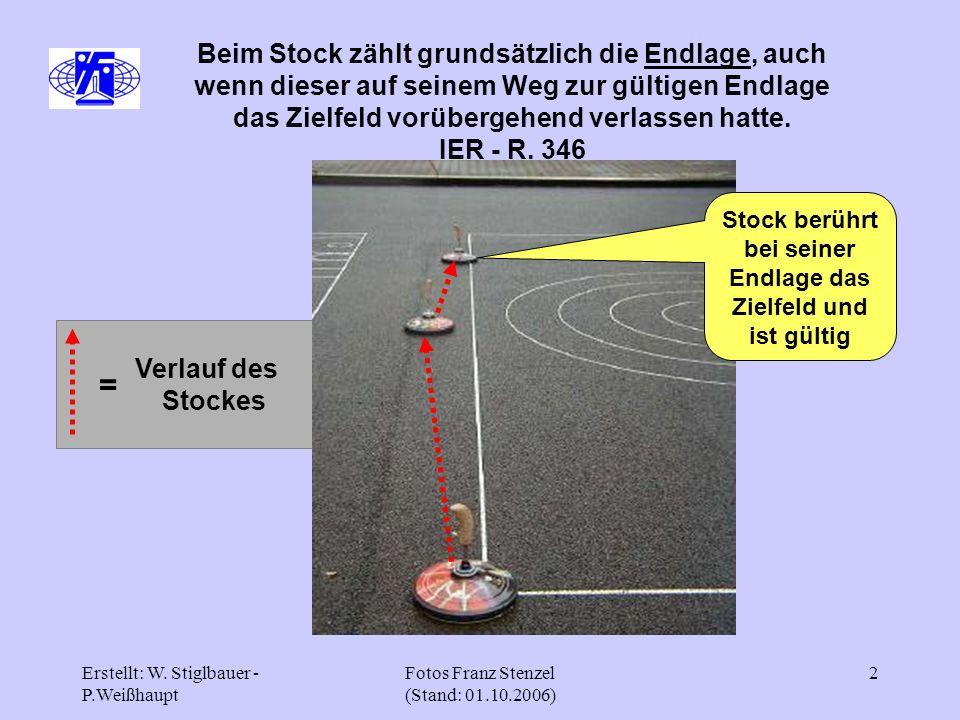 Erstellt: W. Stiglbauer - P.Weißhaupt Fotos Franz Stenzel (Stand: 01.10.2006) 2 Verlauf des Stockes Beim Stock zählt grundsätzlich die Endlage, auch w
