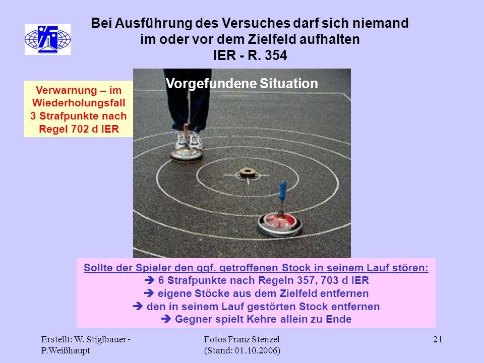 Erstellt: W. Stiglbauer - P.Weißhaupt Fotos Franz Stenzel (Stand: 01.10.2006) 21 Bei Ausführung des Versuches darf sich niemand im oder vor dem Zielfe
