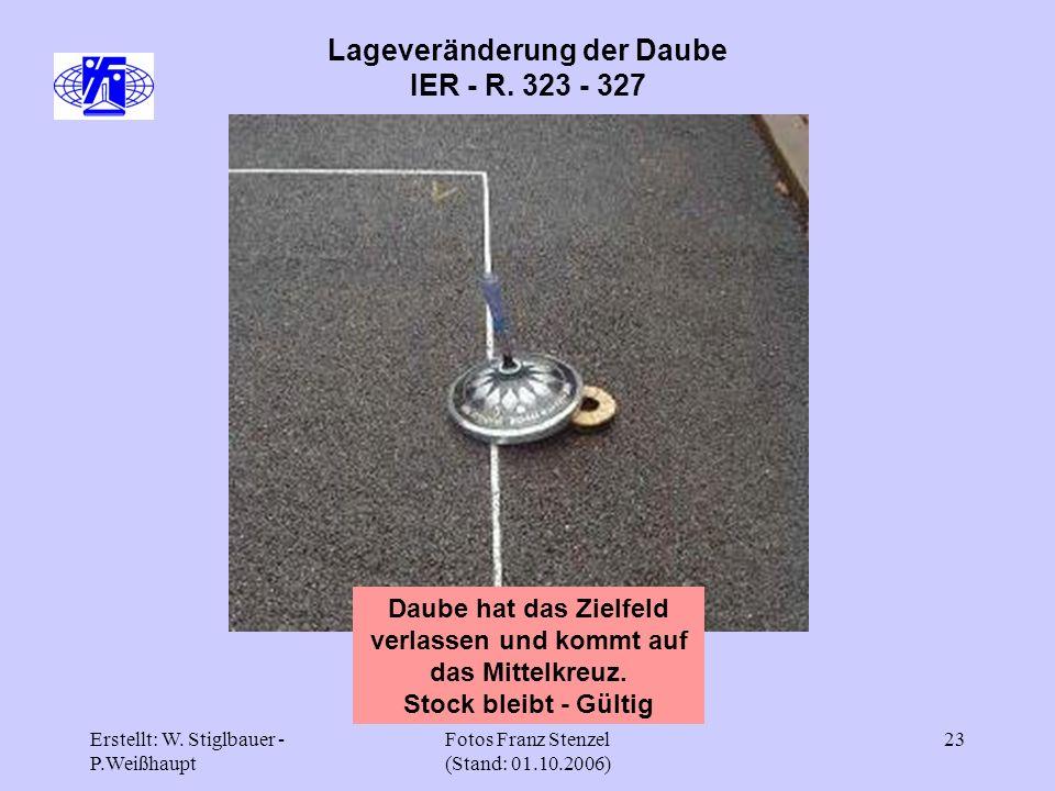 Erstellt: W. Stiglbauer - P.Weißhaupt Fotos Franz Stenzel (Stand: 01.10.2006) 23 Lageveränderung der Daube IER - R. 323 - 327 Daube hat das Zielfeld v