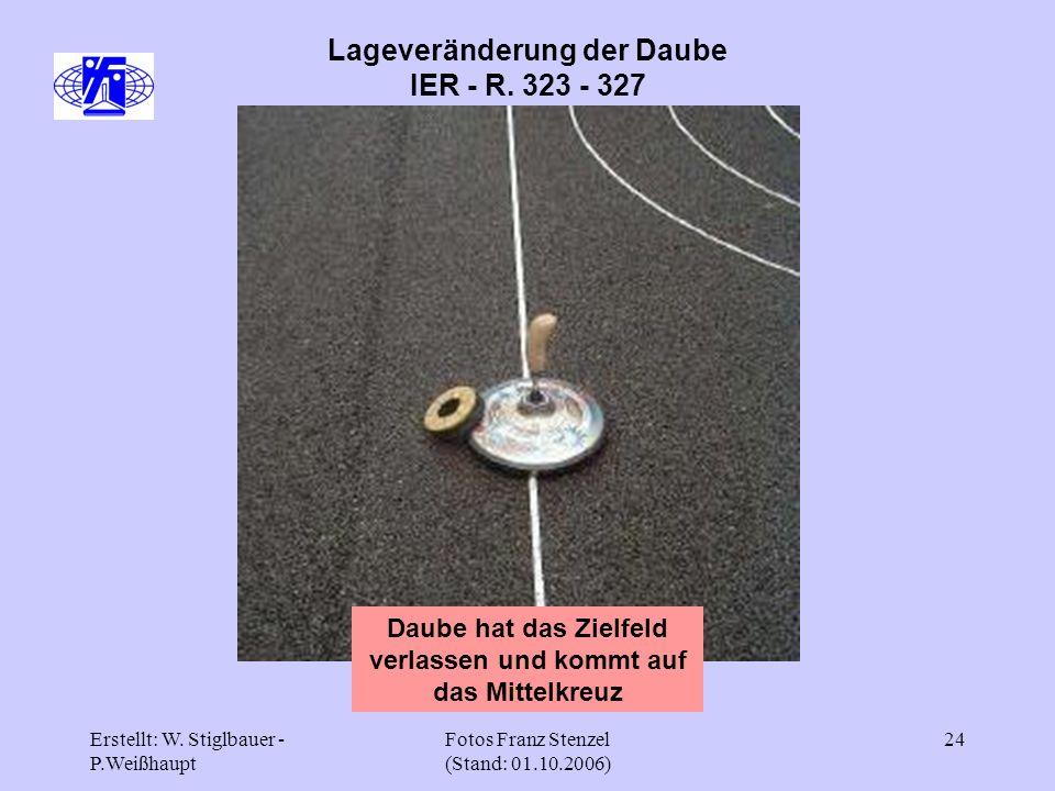Erstellt: W. Stiglbauer - P.Weißhaupt Fotos Franz Stenzel (Stand: 01.10.2006) 24 Lageveränderung der Daube IER - R. 323 - 327 Daube hat das Zielfeld v