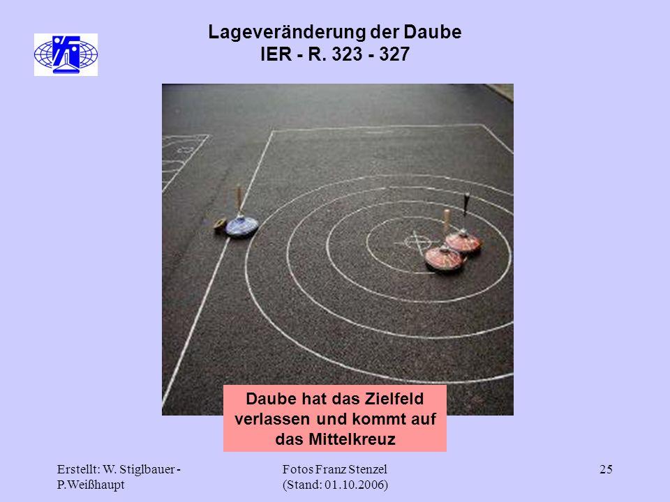 Erstellt: W. Stiglbauer - P.Weißhaupt Fotos Franz Stenzel (Stand: 01.10.2006) 25 Lageveränderung der Daube IER - R. 323 - 327 Daube hat das Zielfeld v