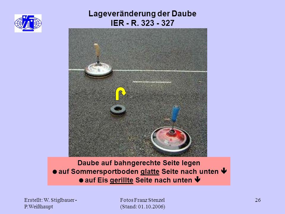 Erstellt: W. Stiglbauer - P.Weißhaupt Fotos Franz Stenzel (Stand: 01.10.2006) 26 Lageveränderung der Daube IER - R. 323 - 327 Daube auf bahngerechte S
