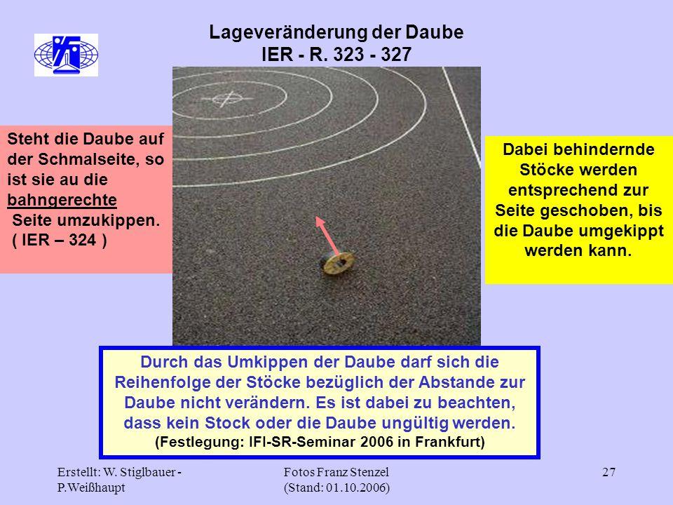 Erstellt: W. Stiglbauer - P.Weißhaupt Fotos Franz Stenzel (Stand: 01.10.2006) 27 Lageveränderung der Daube IER - R. 323 - 327 Durch das Umkippen der D
