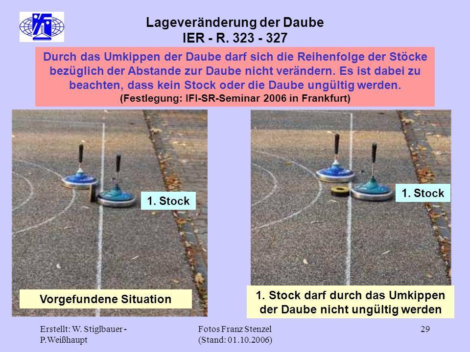 Erstellt: W. Stiglbauer - P.Weißhaupt Fotos Franz Stenzel (Stand: 01.10.2006) 29 Lageveränderung der Daube IER - R. 323 - 327 Durch das Umkippen der D
