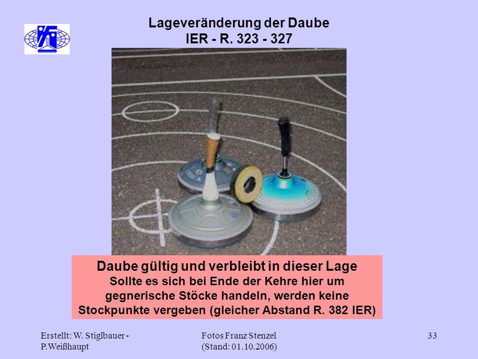 Erstellt: W. Stiglbauer - P.Weißhaupt Fotos Franz Stenzel (Stand: 01.10.2006) 33 Lageveränderung der Daube IER - R. 323 - 327 Daube gültig und verblei
