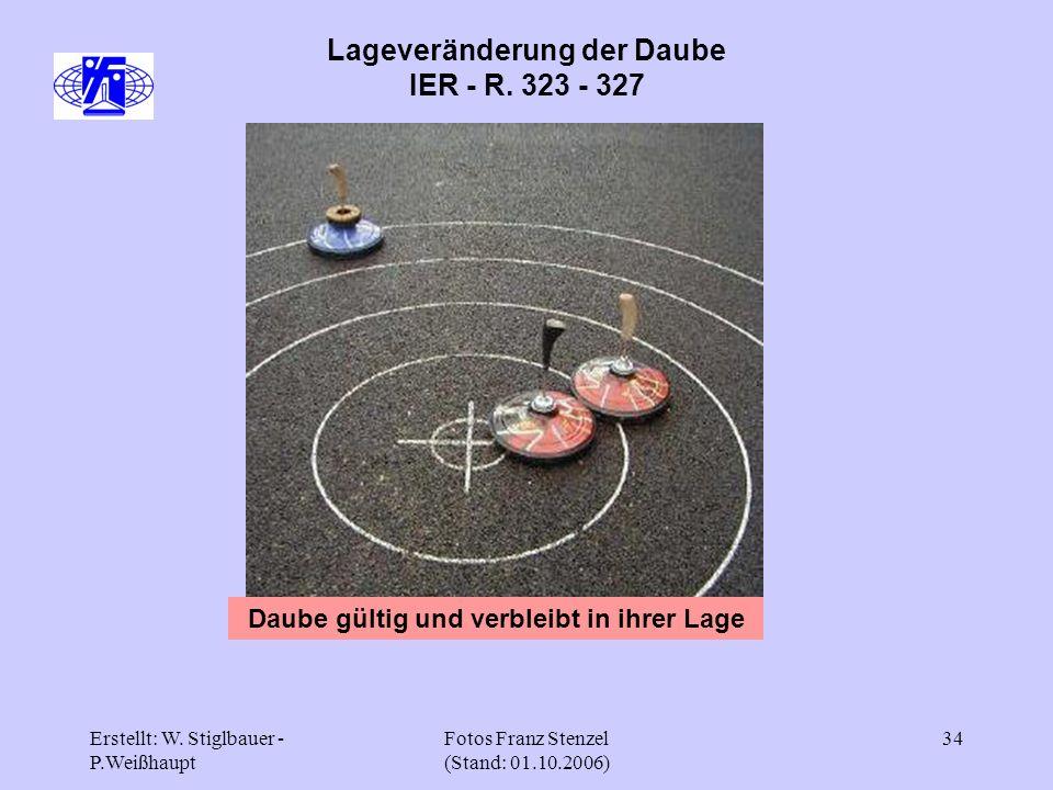 Erstellt: W. Stiglbauer - P.Weißhaupt Fotos Franz Stenzel (Stand: 01.10.2006) 34 Lageveränderung der Daube IER - R. 323 - 327 Daube gültig und verblei