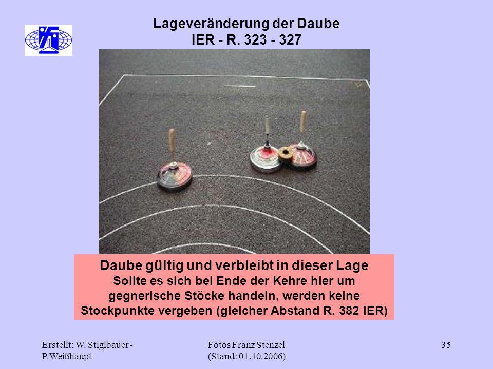 Erstellt: W. Stiglbauer - P.Weißhaupt Fotos Franz Stenzel (Stand: 01.10.2006) 35 Lageveränderung der Daube IER - R. 323 - 327 Daube gültig und verblei