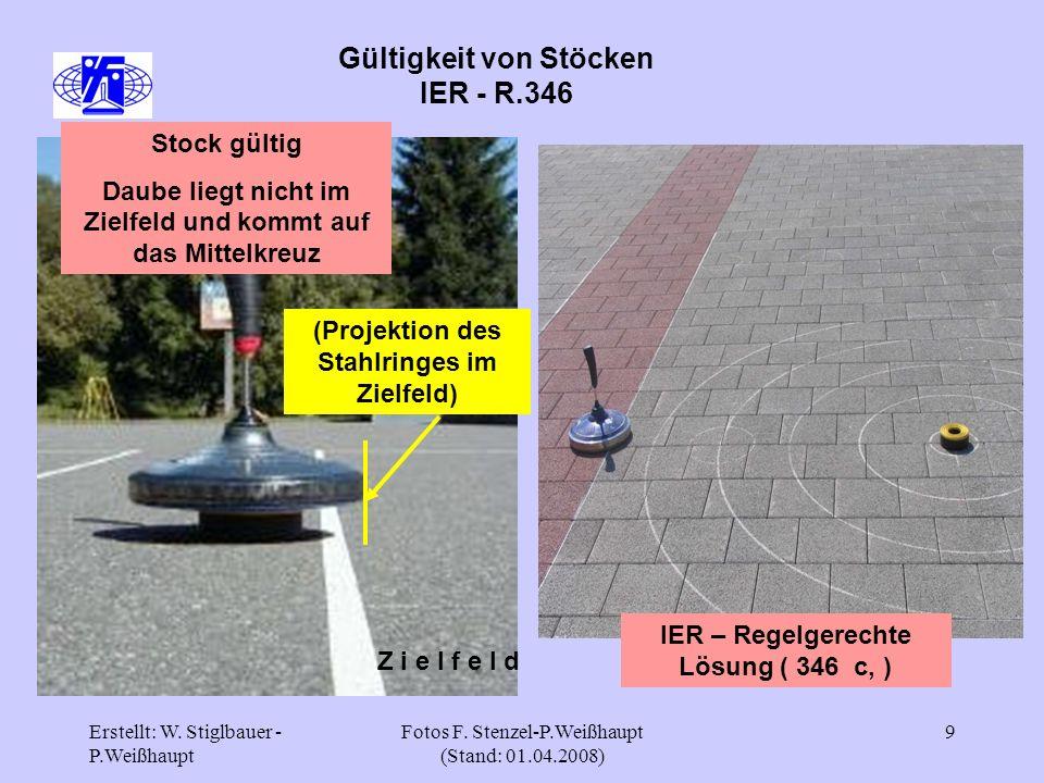 Erstellt: W. Stiglbauer - P.Weißhaupt Fotos F. Stenzel-P.Weißhaupt (Stand: 01.04.2008) 9 Gültigkeit von Stöcken IER - R.346 Z i e l f e l d Stock gült