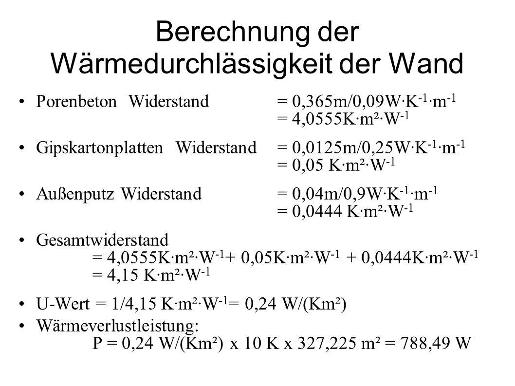 Berechnung der Wärmedurchlässigkeit der Wand Porenbeton Widerstand = 0,365m/0,09W·K -1 ·m -1 = 4,0555K·m²·W -1 Gipskartonplatten Widerstand = 0,0125m/