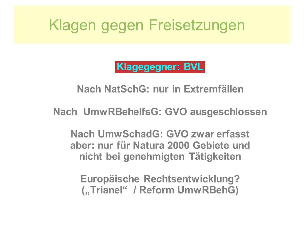 Klagen gegen Freisetzungen Klagegegner: BVL Nach NatSchG: nur in Extremfällen Nach UmwRBehelfsG: GVO ausgeschlossen Nach UmwSchadG: GVO zwar erfasst a