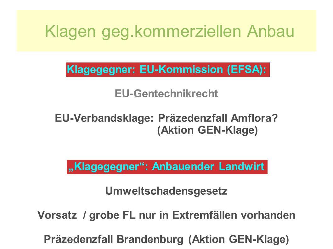 Klagegegner: EU-Kommission (EFSA): EU-Gentechnikrecht EU-Verbandsklage: Präzedenzfall Amflora.