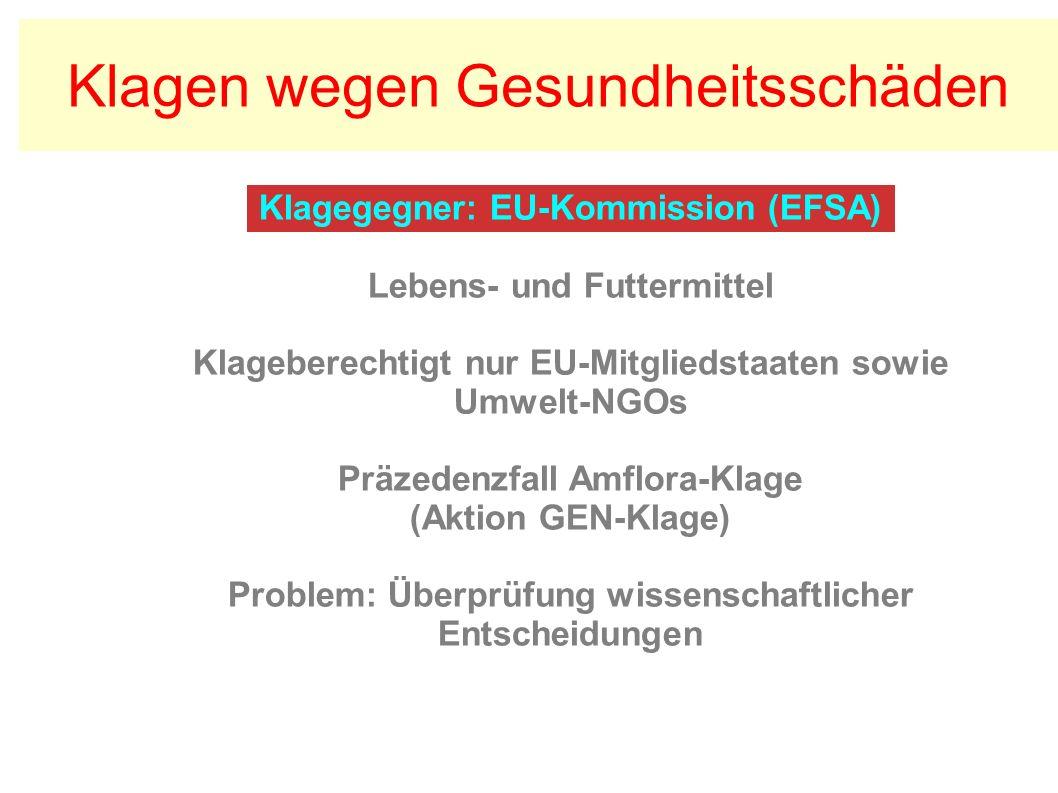 Klagegegner: EU-Kommission (EFSA) Lebens- und Futtermittel Klageberechtigt nur EU-Mitgliedstaaten sowie Umwelt-NGOs Präzedenzfall Amflora-Klage (Aktion GEN-Klage) Problem: Überprüfung wissenschaftlicher Entscheidungen Klagen wegen Gesundheitsschäden