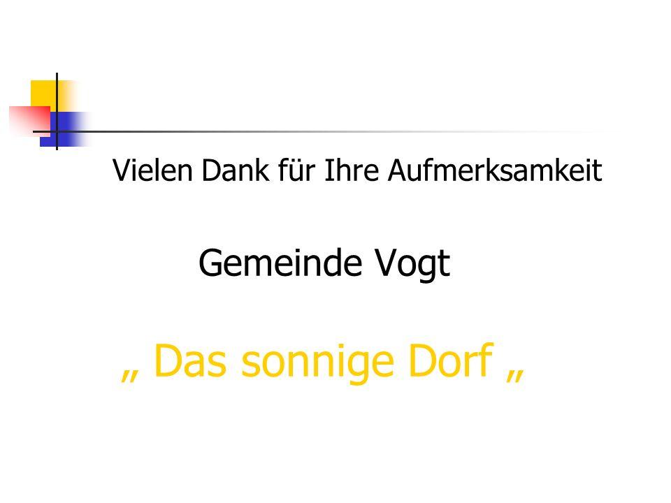 Vielen Dank für Ihre Aufmerksamkeit Gemeinde Vogt Das sonnige Dorf