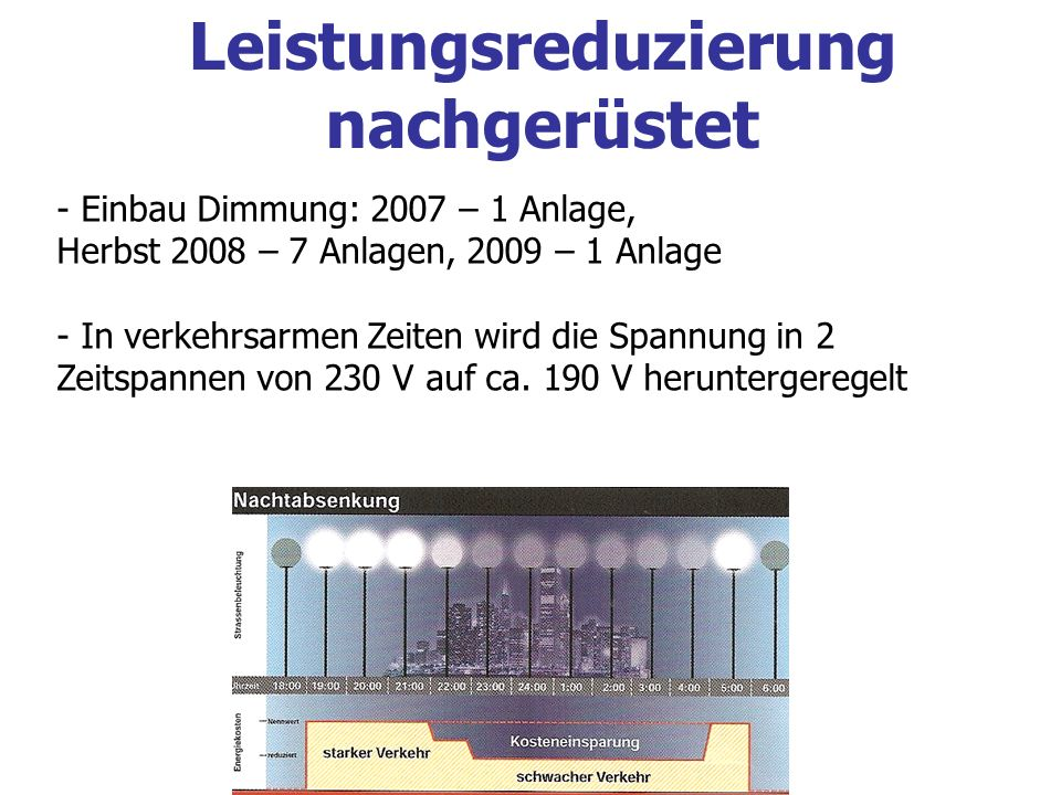 - Einbau Dimmung: 2007 – 1 Anlage, Herbst 2008 – 7 Anlagen, 2009 – 1 Anlage - In verkehrsarmen Zeiten wird die Spannung in 2 Zeitspannen von 230 V auf