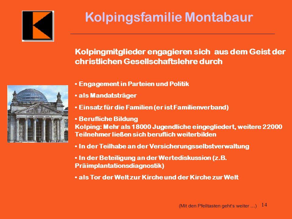 13 Kolpingsfamilie Montabaur 3. Demokratisierung 50 Jahre Demokratie Ab 1945 ging es darum, das Land wieder geistig und materiell aufzubauen. Dabei ha