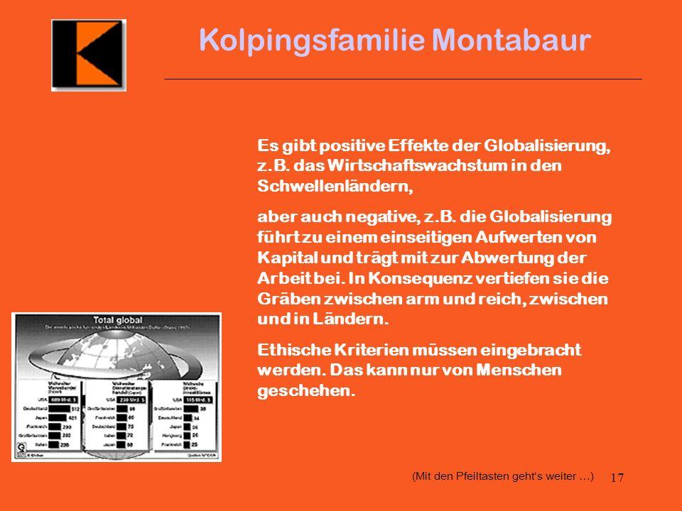 16 Kolpingsfamilie Montabaur 4. Globalisierung Auf dem Weg zur einen Welt Kolping war und ist schon immer international Weltweit gibt es das Kolpingwe