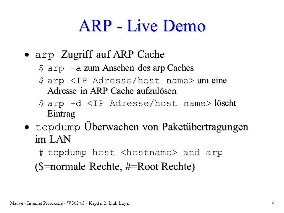 Mauve - Internet Protokolle - WS02/03 - Kapitel 2: Link Layer 10 ARP - Live Demo arp Zugriff auf ARP Cache arp Zugriff auf ARP Cache $arp -a zum Anseh