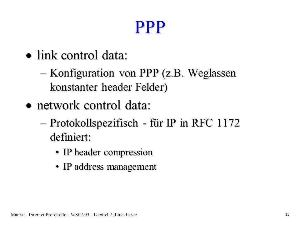 Mauve - Internet Protokolle - WS02/03 - Kapitel 2: Link Layer 13 PPP link control data: link control data: –Konfiguration von PPP (z.B. Weglassen kons
