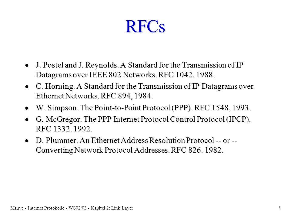 Mauve - Internet Protokolle - WS02/03 - Kapitel 2: Link Layer 3 RFCs J. Postel and J. Reynolds. A Standard for the Transmission of IP Datagrams over I