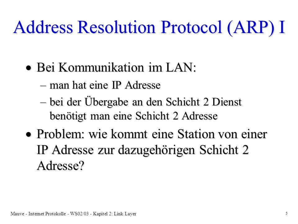 Mauve - Internet Protokolle - WS02/03 - Kapitel 2: Link Layer 6 ARP II Abbildung von IP-Adressen auf LAN Adressen mittels ARP: Abbildung von IP-Adressen auf LAN Adressen mittels ARP: LAN Station 1 Station 2Station 3 Station 4 Sender Empfänger ARP Response ARP Request