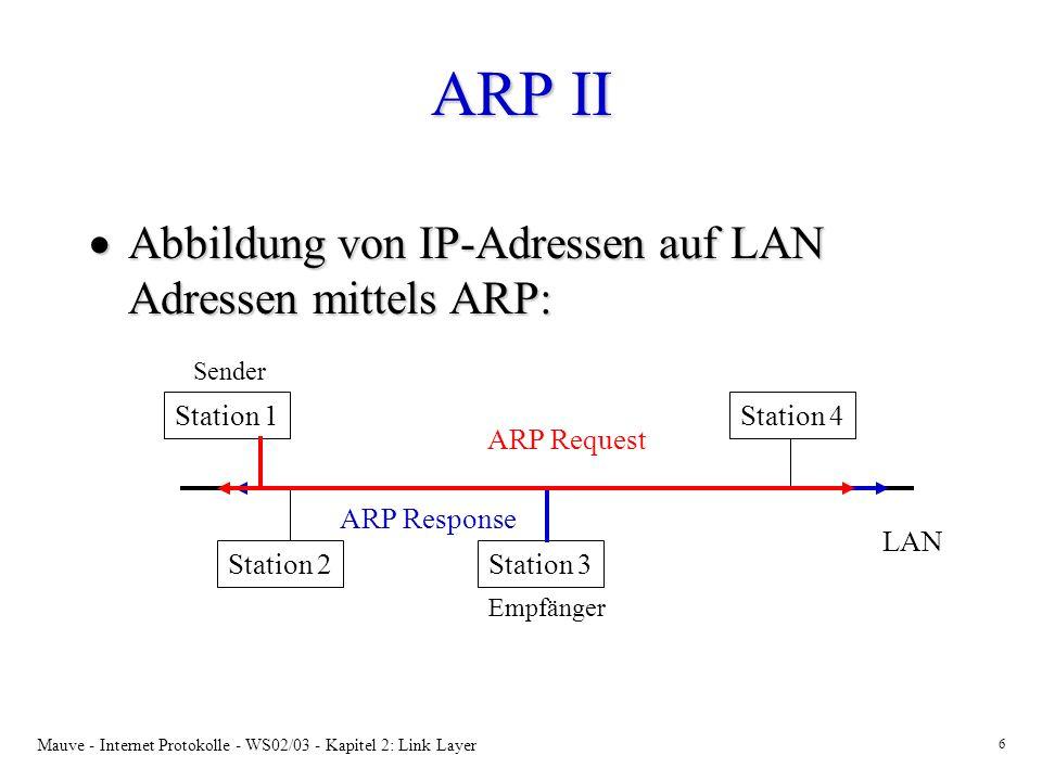 Mauve - Internet Protokolle - WS02/03 - Kapitel 2: Link Layer 6 ARP II Abbildung von IP-Adressen auf LAN Adressen mittels ARP: Abbildung von IP-Adress