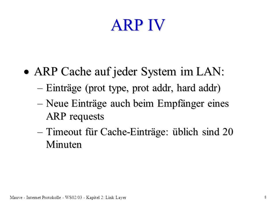 Mauve - Internet Protokolle - WS02/03 - Kapitel 2: Link Layer 8 ARP IV ARP Cache auf jeder System im LAN: ARP Cache auf jeder System im LAN: –Einträge