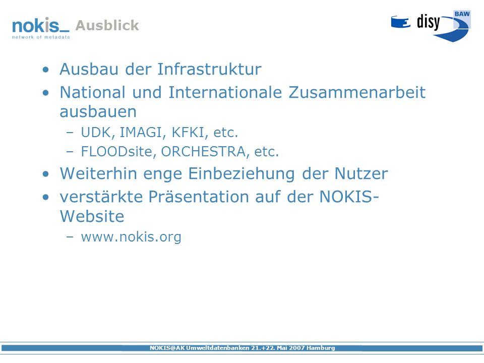 NOKIS@AK Umweltdatenbanken 21.+22. Mai 2007 Hamburg Ausblick Ausbau der Infrastruktur National und Internationale Zusammenarbeit ausbauen –UDK, IMAGI,