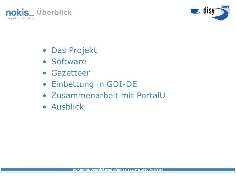 NOKIS@AK Umweltdatenbanken 21.+22. Mai 2007 Hamburg Überblick Das Projekt Software Gazetteer Einbettung in GDI-DE Zusammenarbeit mit PortalU Ausblick
