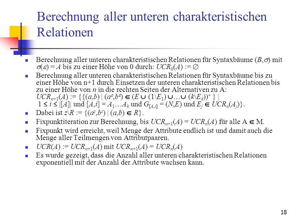 18 Berechnung aller unteren charakteristischen Relationen Berechnung aller unteren charakteristischen Relationen für Syntaxbäume (B, ) mit ( ) = A bis zu einer Höhe von 0 durch: UCR 0 (A) := Berechnung aller unteren charakteristischen Relationen für Syntaxbäume bis zu einer Höhe von n+1 durch Einsetzen der unteren charakteristischen Relationen bis zu einer Höhe von n in die rechten Seiten der Alternativen zu A: UCR n+1 (A) := {{(a,b) | (a,b ) (E (1\E 1 ) … (k\E k )) + } | 1 i |[A]| und [A,i] = A 1 …A k und G [A,i] = (N,E) und E j UCR n (A j )}.