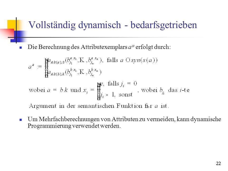 22 Vollständig dynamisch - bedarfsgetrieben Die Berechnung des Attributexemplars a erfolgt durch: Um Mehrfachberechnungen von Attributen zu vermeiden, kann dynamische Programmierung verwendet werden.