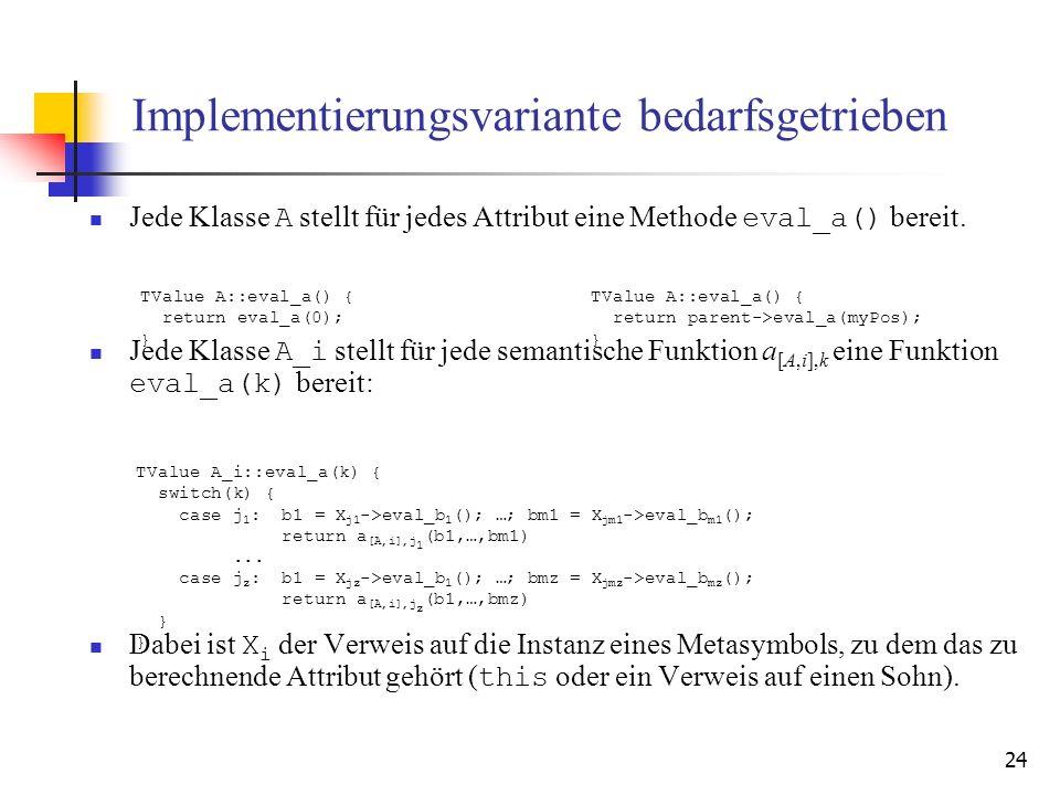 24 Implementierungsvariante bedarfsgetrieben Jede Klasse A stellt für jedes Attribut eine Methode eval_a() bereit.