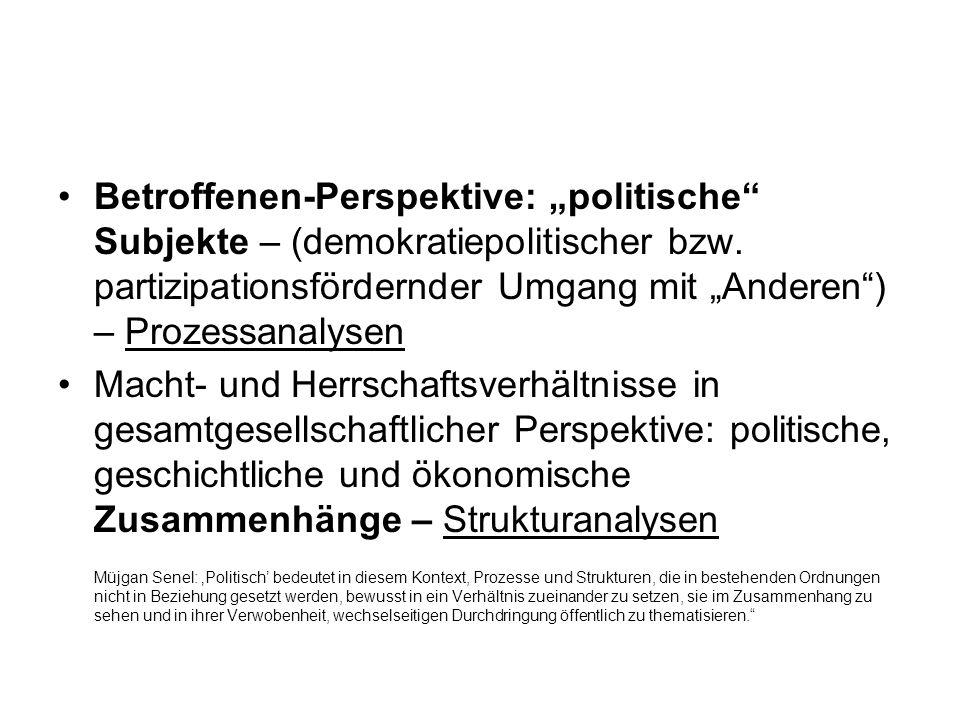 Betroffenen-Perspektive: politische Subjekte – (demokratiepolitischer bzw. partizipationsfördernder Umgang mit Anderen) – Prozessanalysen Macht- und H