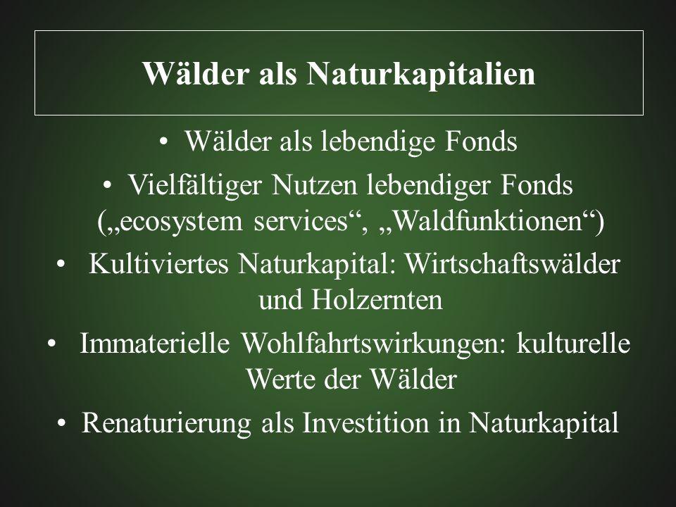 Wälder als Naturkapitalien Wälder als lebendige Fonds Vielfältiger Nutzen lebendiger Fonds (ecosystem services, Waldfunktionen) Kultiviertes Naturkapi