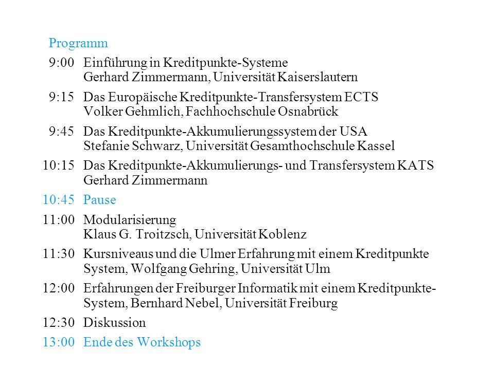 Programm 9:00Einführung in Kreditpunkte-Systeme Gerhard Zimmermann, Universität Kaiserslautern 9:15Das Europäische Kreditpunkte-Transfersystem ECTS Vo