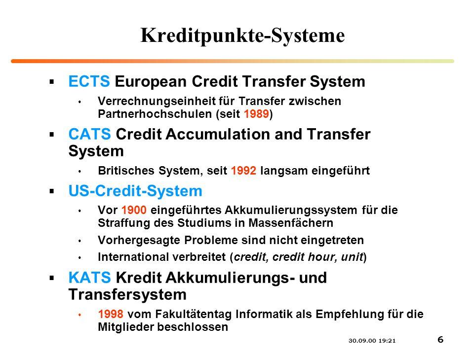 30.09.00 19:21 6 Kreditpunkte-Systeme ECTS European Credit Transfer System Verrechnungseinheit für Transfer zwischen Partnerhochschulen (seit 1989) CA