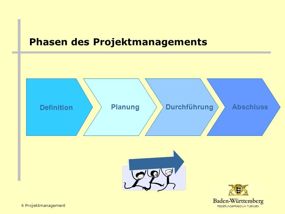 REGIERUNGSPRÄSIDIUM TÜBINGEN 6 Projektmanagement Definition PlanungDurchführungAbschluss Phasen des Projektmanagements