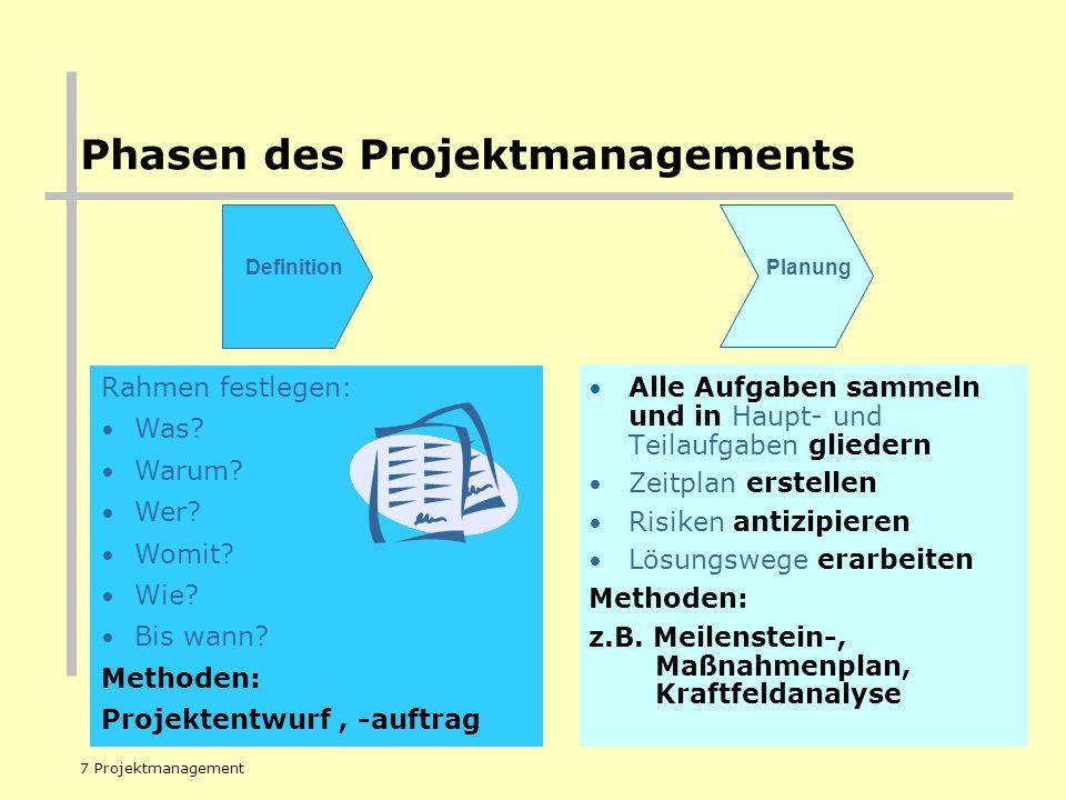 REGIERUNGSPRÄSIDIUM TÜBINGEN 7 Projektmanagement Phasen des Projektmanagements Planung Alle Aufgaben sammeln und in Haupt- und Teilaufgaben gliedern Z