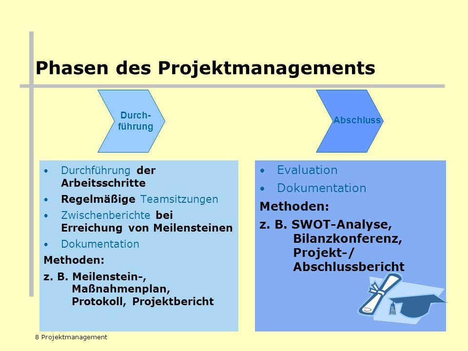REGIERUNGSPRÄSIDIUM TÜBINGEN 8 Projektmanagement Phasen des Projektmanagements Durchführung der Arbeitsschritte Regelmäßige Teamsitzungen Zwischenberi